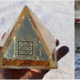 Golden Kubera Organite Pyramid