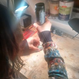 DIY! Dana drills the ring hole for her Pendant...